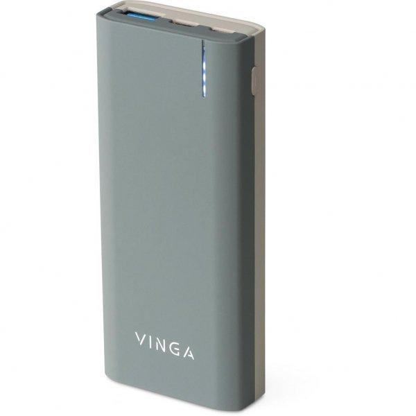 Батарея універсальна Vinga 10000 mAh QC3.0 PD soft touch dark grey (BTPB3810QCRODG)
