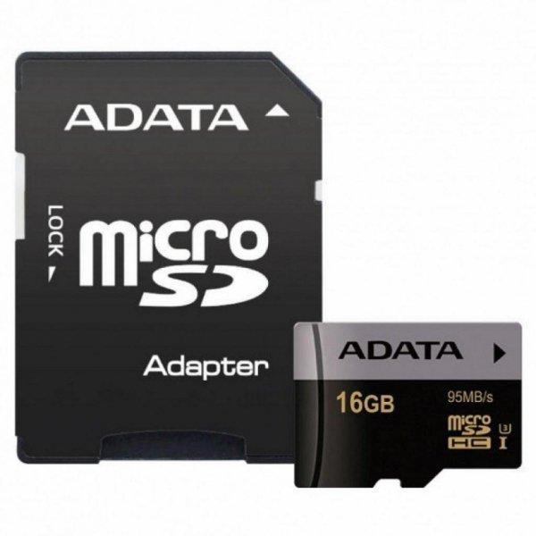 Карта пам'яті ADATA 16GB microSD class 10 UHS-I U3 V30 Premier Pro (AUSDH16GUI3V30S-RA1)