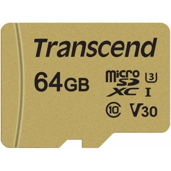 Карта пам'яті Transcend 64GB microSDHC class 10 UHS-I U3 V30 (TS64GUSD500S)